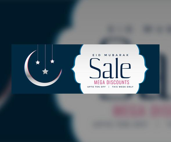eid sale web banner or header design with crescent moon