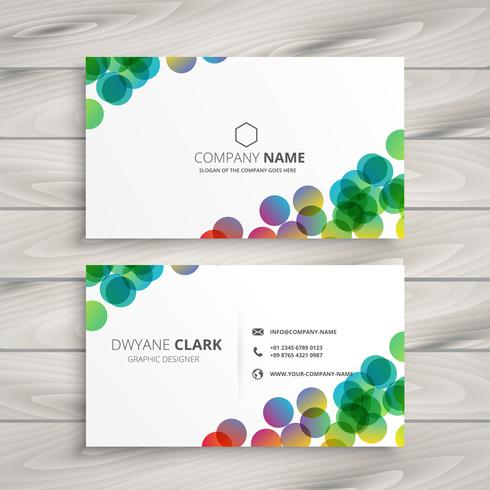 abstract colorful circles business card design