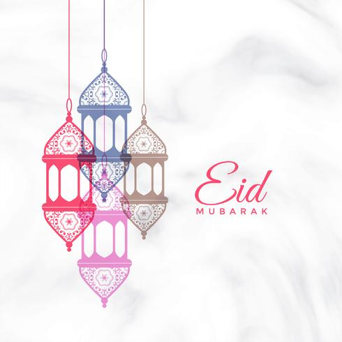 eid mubarak hanging lamps greeting