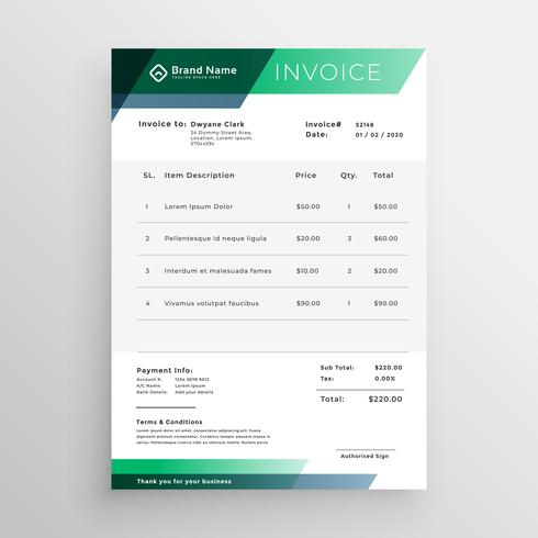 professional green geometric invoice template design