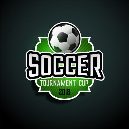 fútbol torneo etiqueta diseño signo