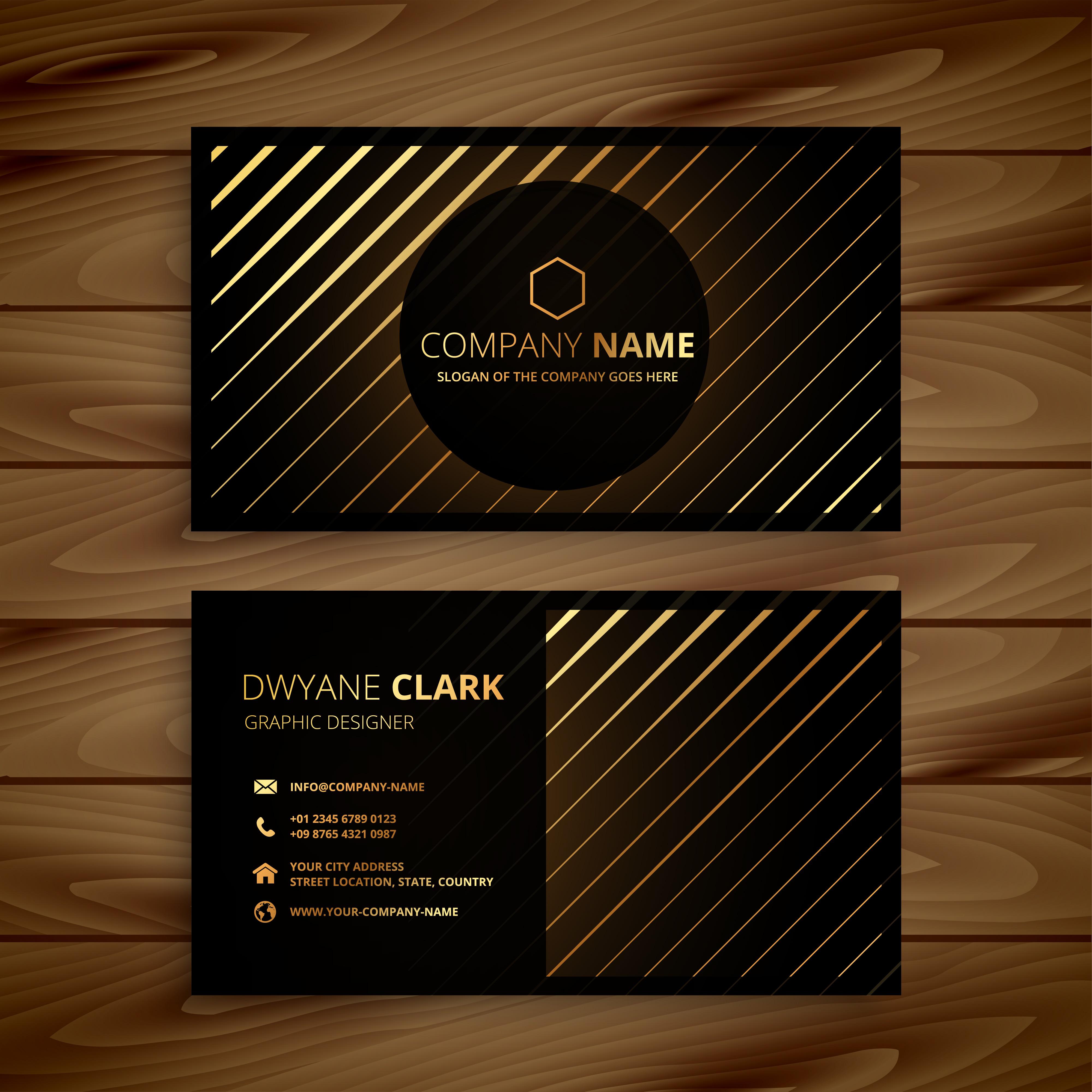 luxury golden line dark business card