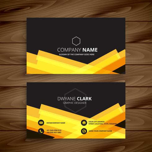 dark business card with abstract yellow shapes