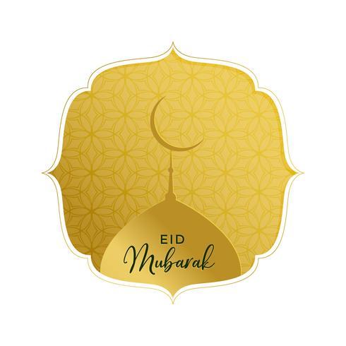élégant eid doré mubarak saluant avec le dessus de la mosquée