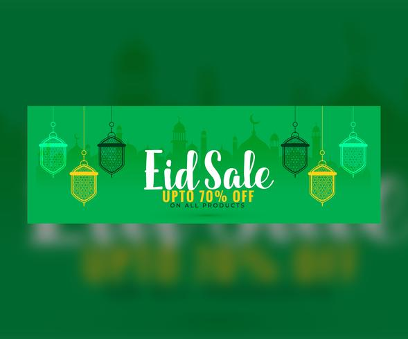 green eid sale banner with hanging lanterns