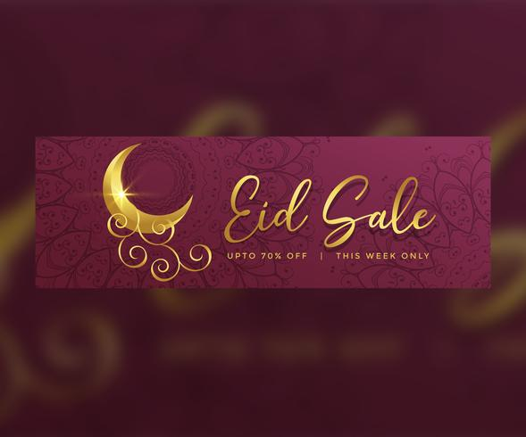premium eid sale banner design with golden creative moon