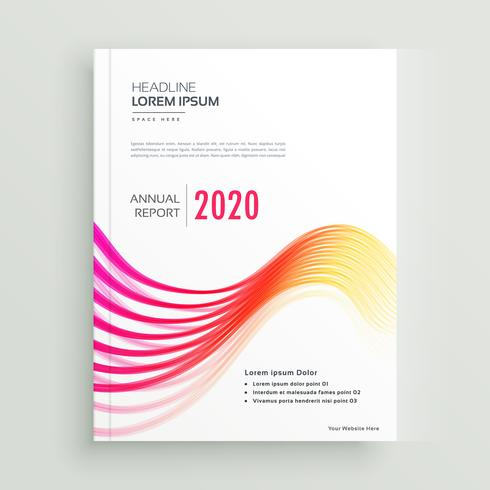 stylish annual brochure presentation template with colorful wave