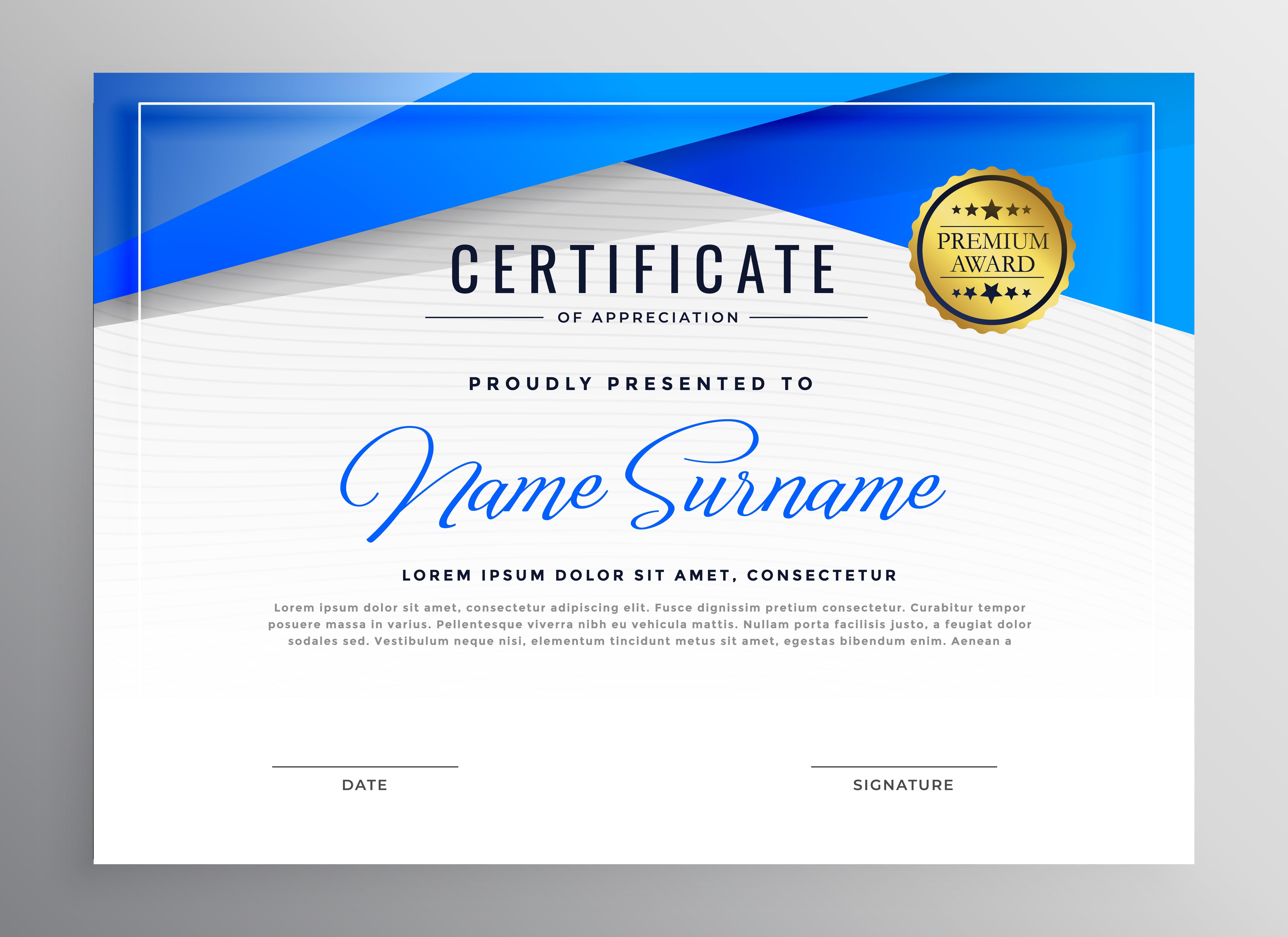 blue professional diploma certificate design