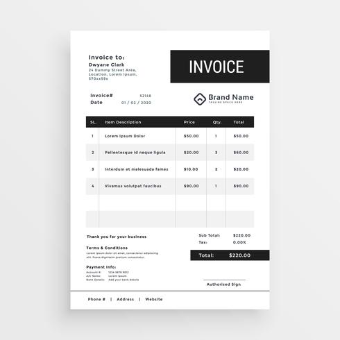 clean invoice template modern design