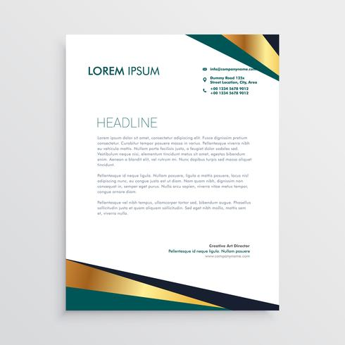 modern geometric golden letterhead design
