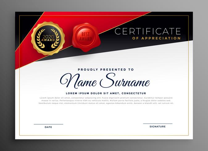 red black diploma certificate design