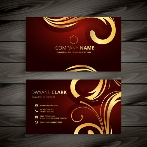 premium luxury red business card with golden decoration