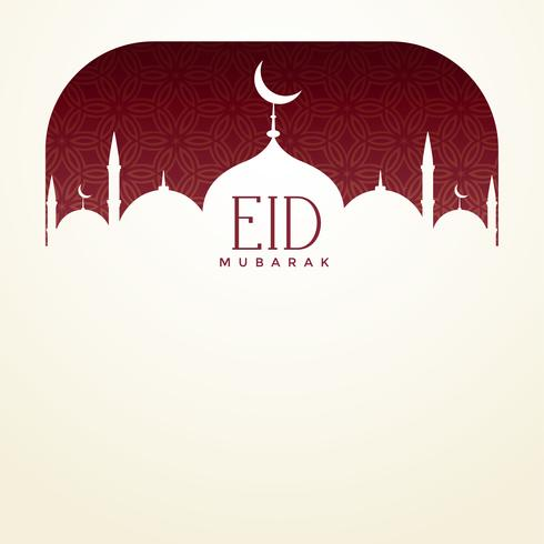 eid mubarak background with mosque and text space