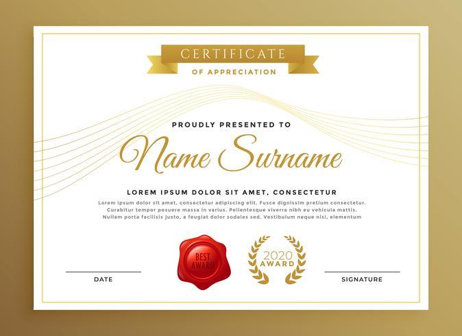 conception de vecteur de certificat moderne propre