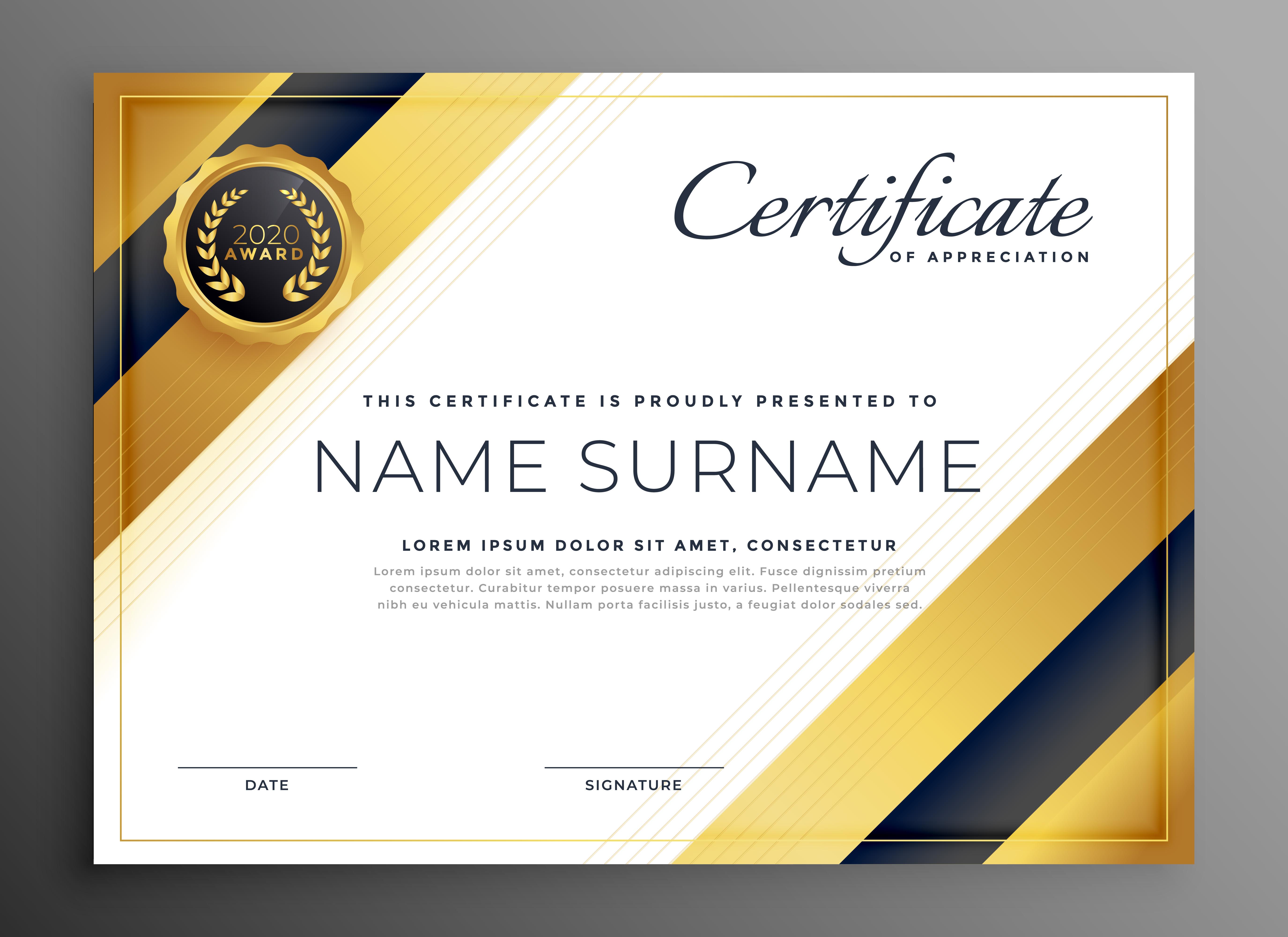 luxury golden premium certificate design - Download Free ...