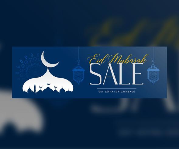 blue eid mubarak sale banner template