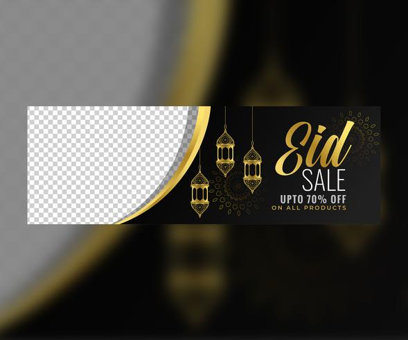 awesome eid sale golden banner with image space