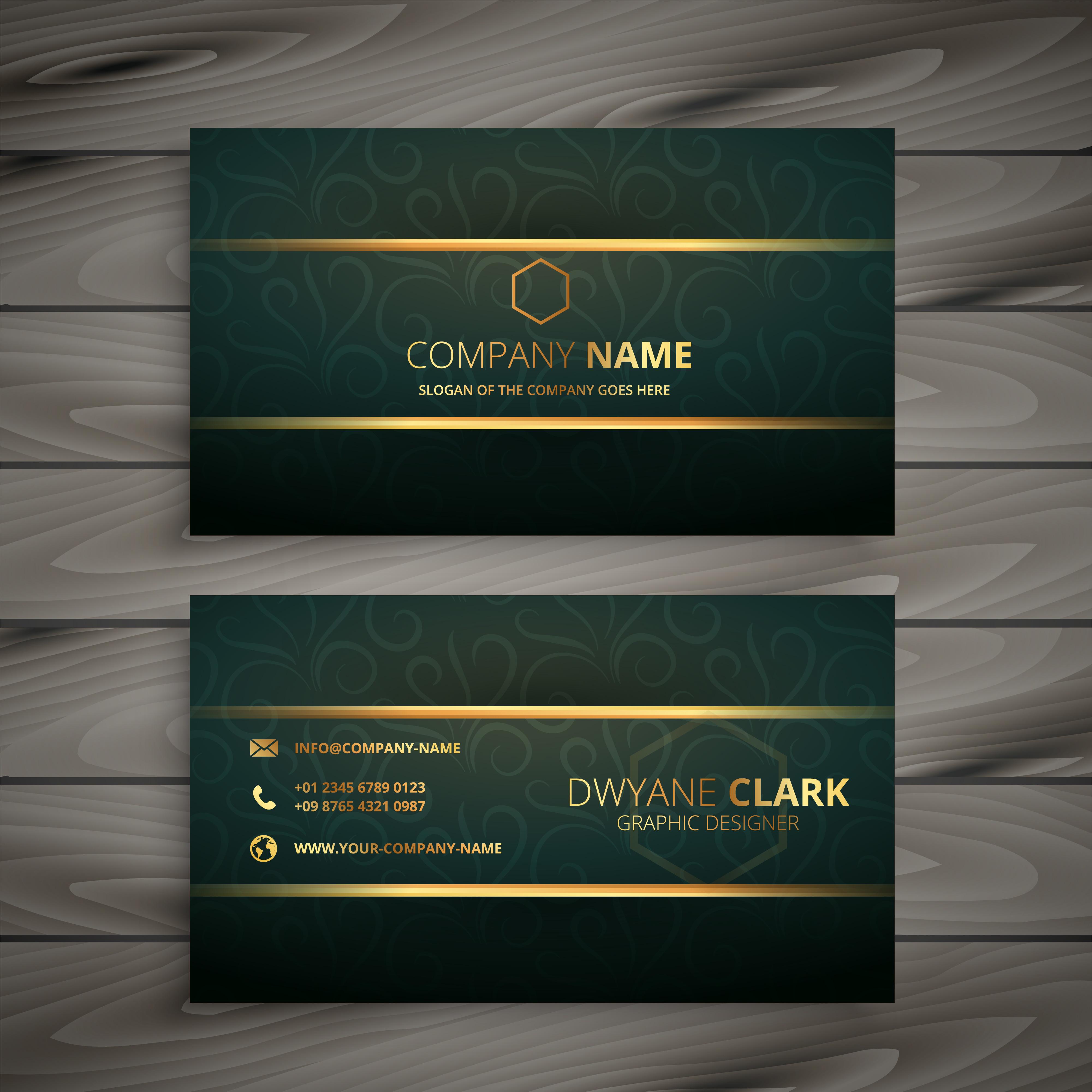 Premium Golden Green Vintage Style Business Card
