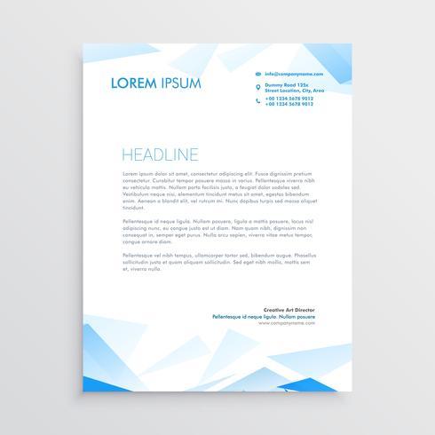 conception de papier à en-tête entreprise abstrait bleu