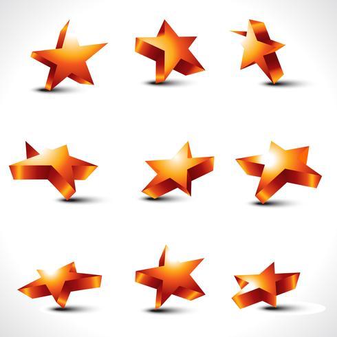 vector set of nine differernt stars