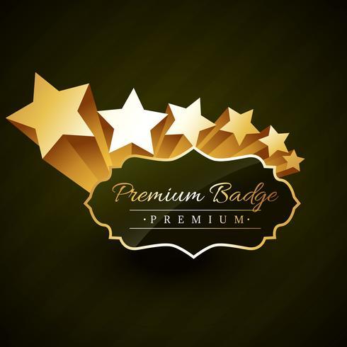 beautiful premium golden badge design with stars vector