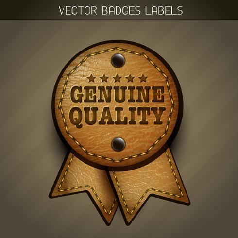 vector genuine leather label