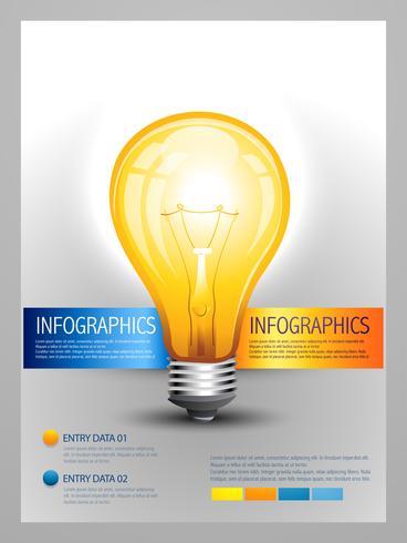 modelo de infográfico de lâmpada