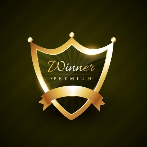 winner label badge design with ribbon vector