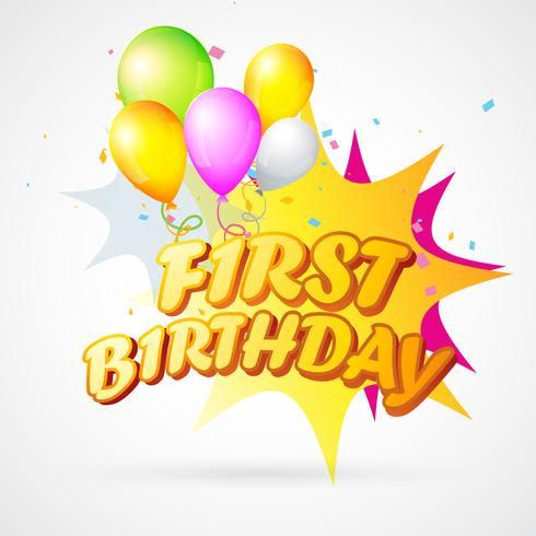 illustration of first birthday blast