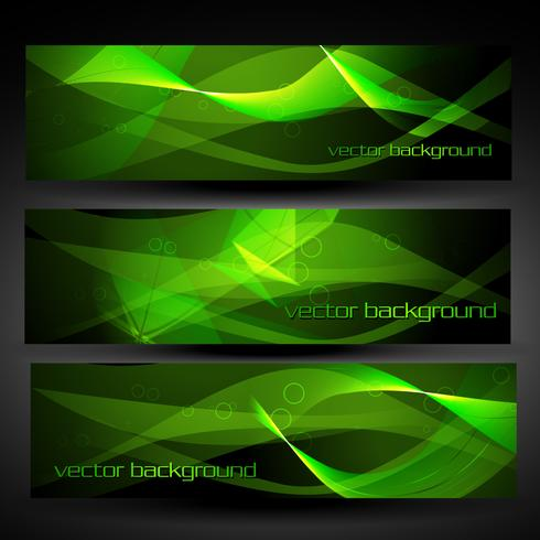 vector green abstract banner set 2