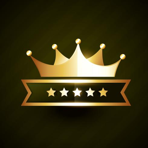 vector golden crown badge design with stars