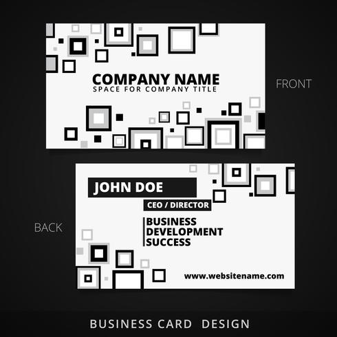 black and white business card vector design