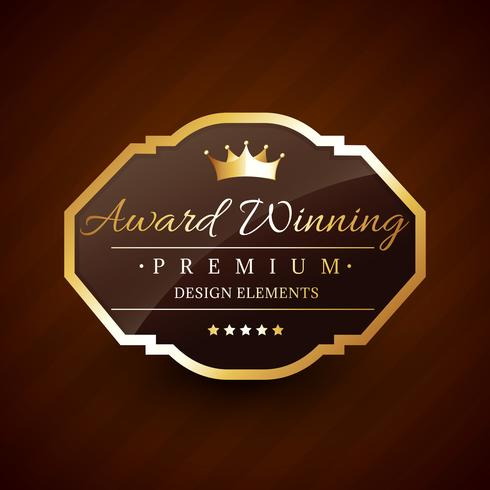 golden award winning premium beautiful vector label