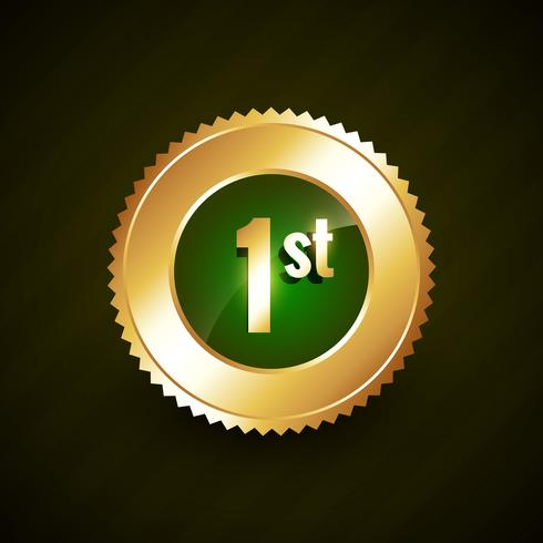 first number vector golden badge design
