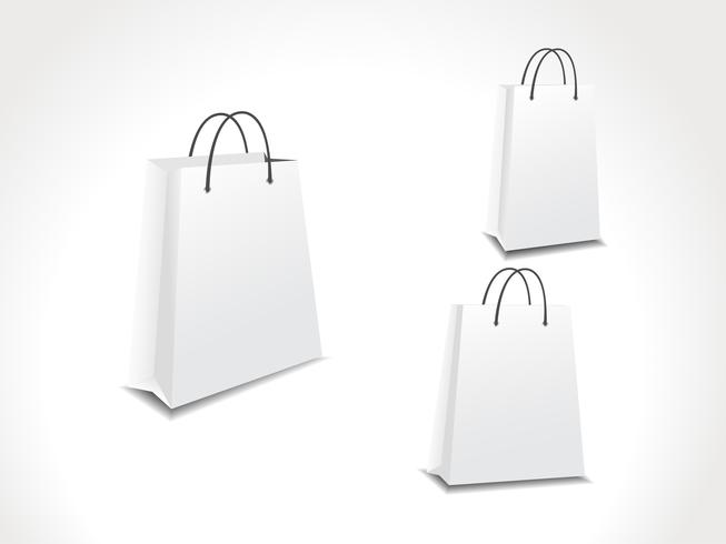 illustration set of three paper shopping bags.