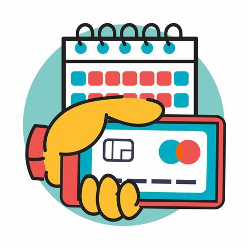 Stijlvolle tekeningstijl Illustratie van mobiele transactie voor dagelijkse betaling