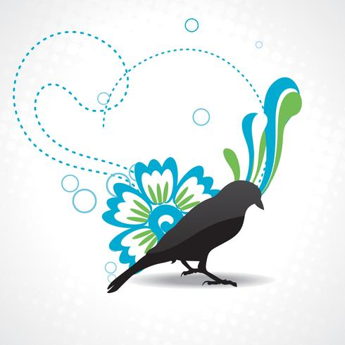 vector silhouette of bird with beautiful artwork