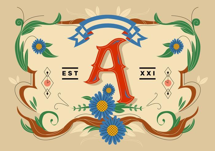 Letter A Typography Fileteado Vector Flat