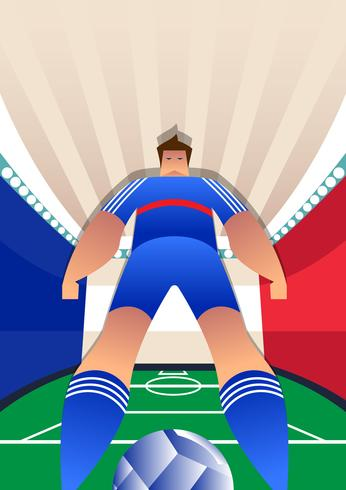France World Cup Soccer Players Vector Illustration