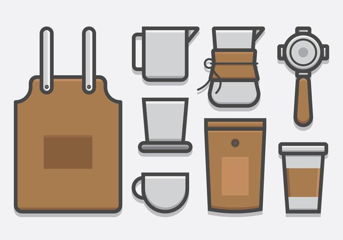 Barista and Coffee, Coffee Maker Icon Set in Lineart Style