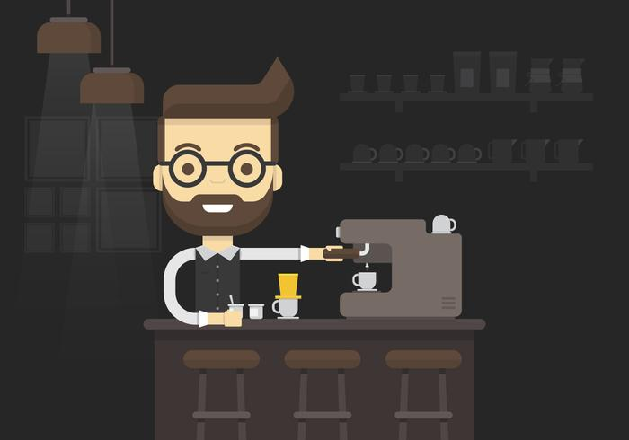 Cool Barista haciendo café y usando Coffee Maker Inside Cafe Illustration