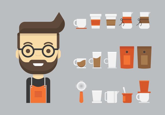 Barista en koffiezetapparaat of koffie spullen pictogrammenset in vlakke stijl vector
