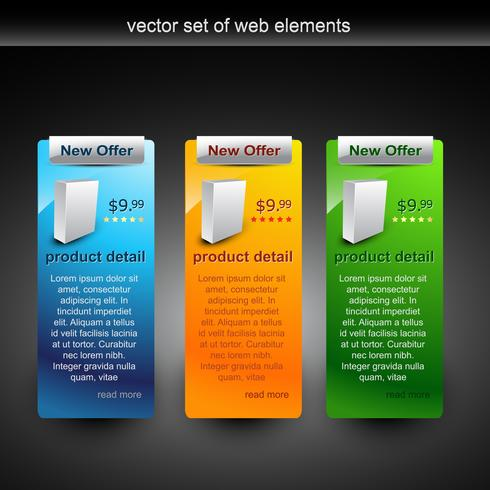 vector web elements in different colors