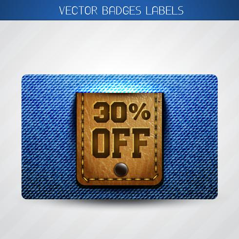 offer label of leather and jeans