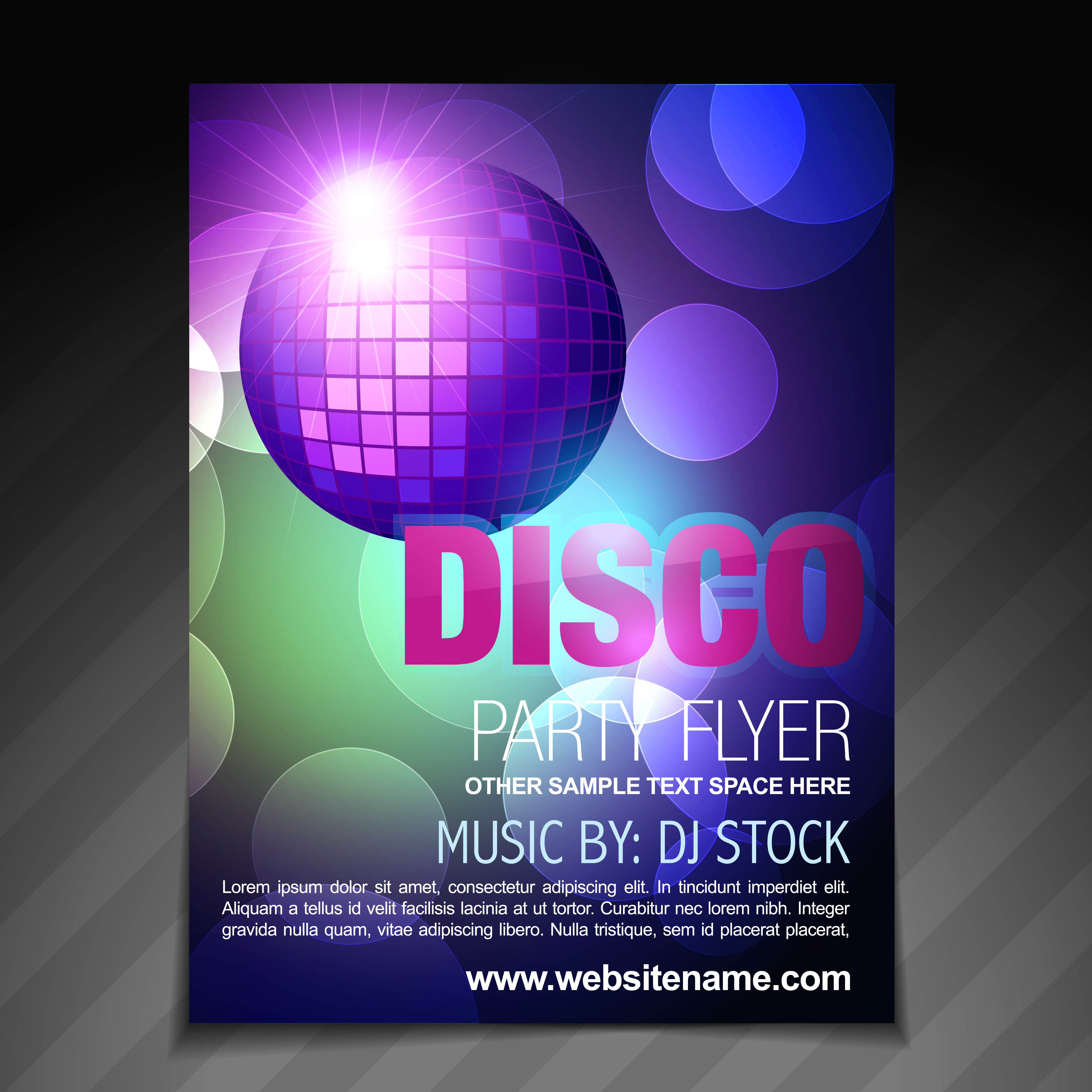 disco party flyer brochure and poster template design