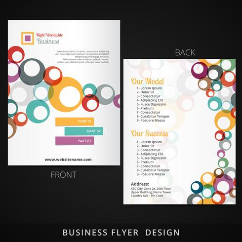 flyer template design with colorful multiple circles flowing ins