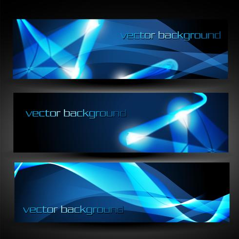 vector blue abstract banner set 3
