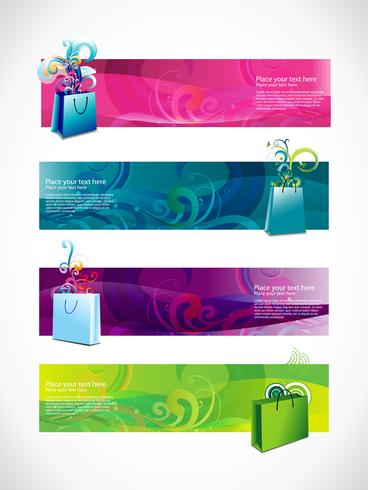 vector shopping headers set of four