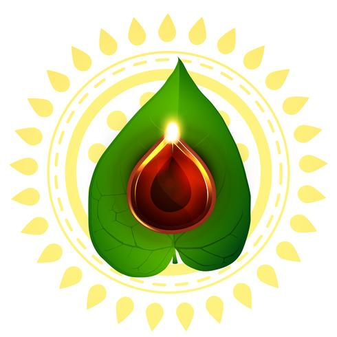 diwali diya on pan leaf