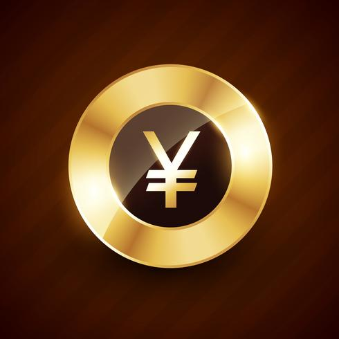 yen golden coin design with shiny effects vector